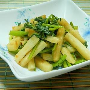 生姜ドレッシングで長芋と春菊炒め