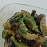 夏の副菜。ゴーヤとなすの酢味噌和え