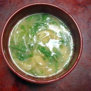 水菜と豆腐と油揚げみそ汁【ダブル大豆イソフラボン】