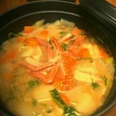 staub鍋で★渡り蟹のお味噌汁