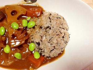 ヒジキご飯de和風根菜カレー