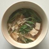 小松菜えのき豆腐バーグスープ