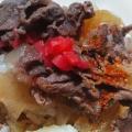 卵と七味と生姜の牛丼