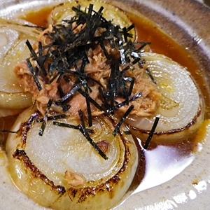 玉ねぎステーキのツナ酢醤油のせ