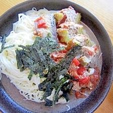 ∞ゴーヤ肉詰めトマトソース素麺∝