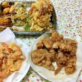 美味しい天ぷら(エビ、唐揚げ、サツマイモなど)
