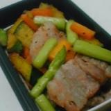 【お弁当】彩り野菜と豚バラ肉のコロコロ炒め