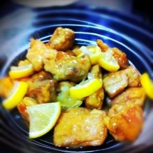 鶏の唐揚げレモン煮