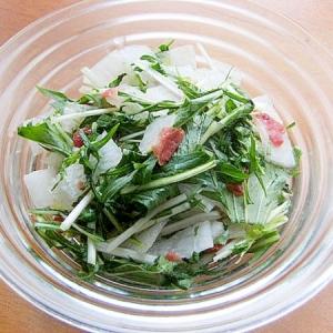 すぐ食べる漬物サラダ♪(水菜&大根&赤小梅干し)