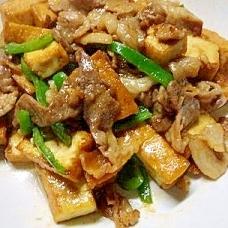 厚揚げと豚肉の味噌炒め