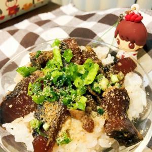 白米にタレが染みて美味しい♡鰹のたたきのミニ漬け丼
