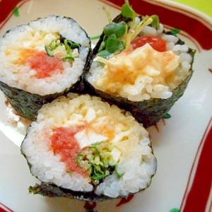 明太子とかいわれ大根のタルタル巻き寿司