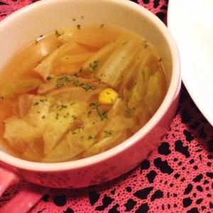 白菜とコーンのスープ