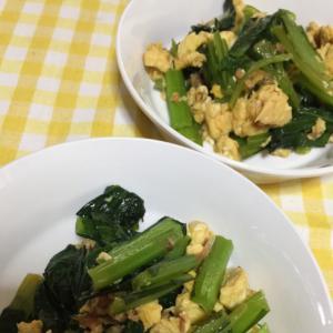 小松菜と炒り卵のオイスター醤油炒め
