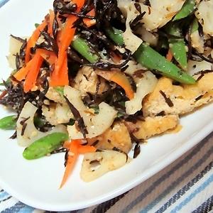 カラフル&ヘルシー、芽ひじきと根菜の彩りサラダ