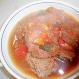 大豆の粉を使った牛肉酢漬けバジルハンバーグ
