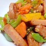 おさかなのハンバーグと緑黄色野菜のショウガ炒め