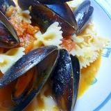 ムール貝とトマトのスープパスタ