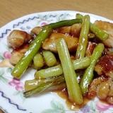 ニンニクの芽と鶏肉炒め