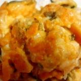 高菜と魚肉ソーセージのチーズ玉子焼き