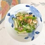 胡瓜、ラディッシュ、豆麩の黒酢和え