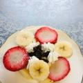 バナナと苺とレーズンのホットケーキ❤