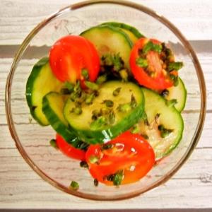 胡瓜とミニトマトのシソの実和え