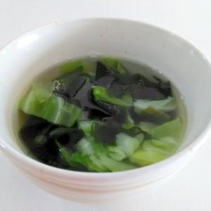 ウェイパーで☆キャベツとわかめの中華スープ