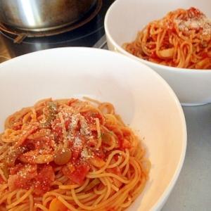 冷蔵庫整理!トマトソースパスタ♪