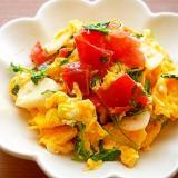 豆苗とトマトの卵炒め♪