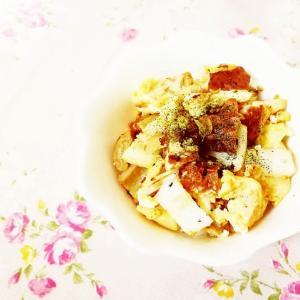 白菜と竹輪の卵とじどんぶり