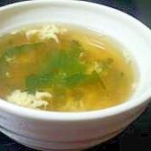 鶏ハムの煮汁deワカメスープ