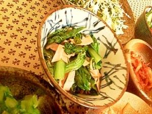 小松菜とハムの炒め物