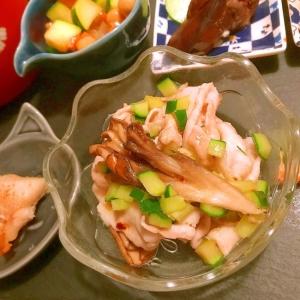 焼き舞茸と胡瓜の豚しゃぶサラダ