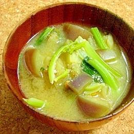 小松菜となすのみそ汁