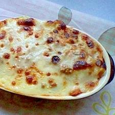 トマトジュースと餃子の皮でラザニア