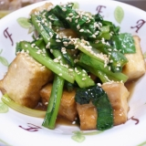 厚揚げと小松菜の照り焼き炒め