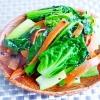 ちぢみ小松菜と人参の味噌炒め