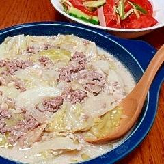 キャベツとひき肉のクリーム煮