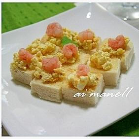 エビと卵サラダのカナッペ