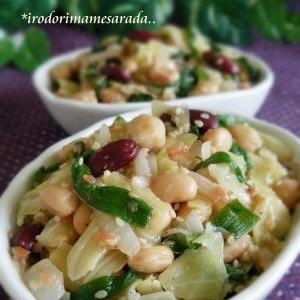 春野菜の梅蒸し。彩りお豆の梅サラダ