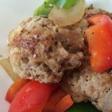 ふわふわ肉団子と野菜のガーリックドレッシング和え