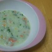 栄養満点! みじん切り野菜で、ササっとミルク粥