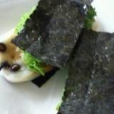 豆餅の●わさび菜海苔サンド