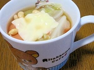 キャベツと大豆で☆簡単チーズトマトスープ
