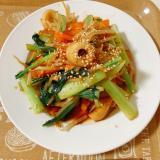 小松菜とモヤシの甜麺醤炒め