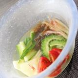 作り置きで簡単★もずとく野菜マリネの冷製スープ