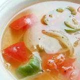 酢玉葱で5分!?トマト&ピーマンの減塩スープ♪
