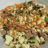 カラシナと豆腐のコンビーフ炒め