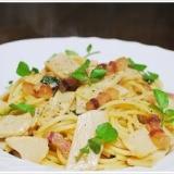 筍とパンチェッタのアーリオオーリオのスパゲッティ
